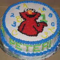 Elmo First Birthday First birthday cake with Elmo letters and numbers. All buttercream. View my other cakes at http://slicethecake.blogspot.com - Thanks for...
