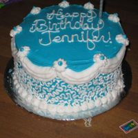 "Cornelli Lace Birthday Cake all buttercream 8"" round - i'd wanted to try the white cornelli lace technique on a colored background. http://slicethecake...."