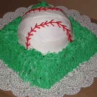 "Baseball Cake Chocolate 8"" square cake covered in buttercream with the grass tip. Yellow almond vanilla half-ball pan cake with buttercream."