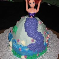 "Mermaid Cake Ariel mermaid cake - 8"" round with wilton wonder mold on top. full size ariel doll inside. all buttercream frosting. http://..."