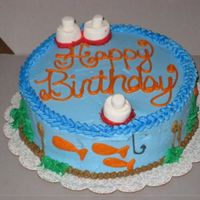 "Gone Fishing For A Birthday 8"" German Chocolate cake with all buttercream frosting. Marshmallow ""bobbers"". http://slicethecake.blogspot.com for my..."