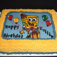 Spongebob Birthday Cake iced in smbc. Sponge Bob, balloons, and letters are done with candy melts. I found the Sponge Bob font on the internet, printed out...