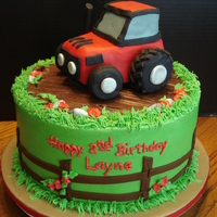 Layne's Tractor Cake WASC with BC and fondant accents. Tractor is RKT covered with fondant. Thanks to KDFCreations for the tractor design.