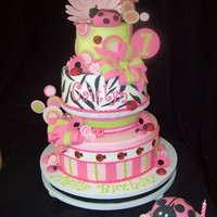 Lady Bugs And Zebra   A sweet and sassy first birthday cake.