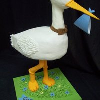 "Stork 3D   Stork is iced with Buttercream. Legs are PVC covered with fondant. Cake stands 22"" tall."