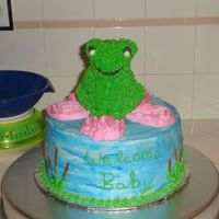 Frog Cake I made this cake for a baby shower where the mom-to-be loved frogs. I used the wilton mini-bear pan to make the frog. Cake is chocolate w/...