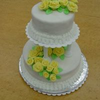 Wilton Class 3 Fondant Cake I did this for my last wilton class last fall. I made yellow roses instead of pink like they wanted. It was fun, but I don't think I&#...