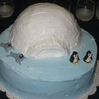 Winter Igloo  I did this cake a few weeks after I finished wilton classes. Buttercream frosting for all of it and used shimmer dust to make the igloo...