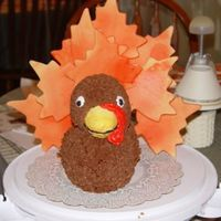 "Turkey Cake  This was made using the Wilton 3D duck pan. Frosted in buttercream. I had the same problem other's had - the ""feathers"" were..."