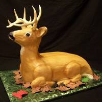3D Buck my first 3d deer. iced in buttercream with fondant leaves. TFL!!!