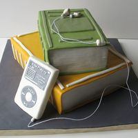 Stacked Books And Ipod Cake