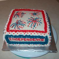 4Th Of July, Independence Day Cake!! My husband wanted to take to work a cake for 4th of July. I had made a cake last year and everyone was asking him for one this time too....
