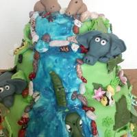 Jungle Cake Fondant animals, bees, flowers, candy chocolate rocks, blue glitter gel