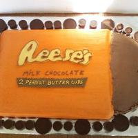 Reeses Peanut Butter Cake Reeses logo made of fondant. Chocolate cake with vanilla buttercream. Thank to all who have inspired me to make this cake!