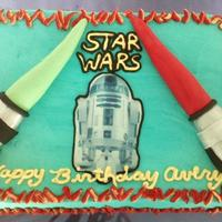 Star Wars Birthday Cake Star Wars cake inspired by by fellow CCers! Thanks to all of you. Light sabers are fondant, edible icing image, and piping.