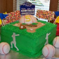 Baseball Stadium Birthday Cake Stadium Cake with field, Baseballs, Scoreboard with first and middle names and last name as the fields name. Baseball stands and flags