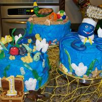 Under The Sea Cake 3 cakes with turtles, sand pails, beach balls, octopus, coral, fish seaweedtreasure chest