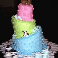 Topsy-Turvy Baby Shower Cake Topsy Turvy Baby shower cake, gumpaste shoes and bears and dog