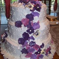 Wedding Cake With Fondant Rose Petals And Pansy's Wedding cake with fondant rose petals and pansy's