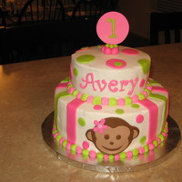 Mod Monkey Two nine inch and two six inch layers. Buttercream with fondant accents. Six inch one layer for smash cake with fondant monkey. Daughter-in...