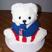 "Patriotic 3-D Bear WASC cake made w/3-d bear pan for a ""late"" July 4th party. Decorated inbuttercream."