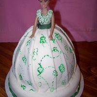 "Scarlett O'hara Wonder mold/8"" round fudge cake covered in b/c then the skirt is out of MMF w/handpainted details. Sitting on top of a 10"" round..."