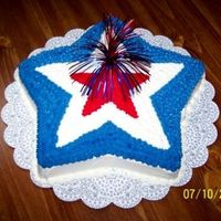 "July 4Th Star Chocolate cake w/ red-white-blue b/c icing. Made for ""late"" July 4th party."