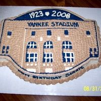 Ny Yankee Stadium Patch Cake carved and decorated to look like the NY Yankee Stadium Patch. White cake w/BC icing.