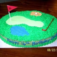 Devin's Golf Cake Made for my BFF's son's 16th birthday. Oval cake w/buttercream. Plastic golf decorations
