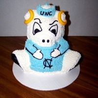 Unc Tarheels Just wanted to see if I could do it! Butter Fudge cake, baked in the 3-d stand up bear pan. B/C icing with MMF horns. Go Heels!!