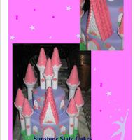 Pink And Purple Princess Cake CAke made using the wilton castle pieces for a real princess on her birthday.