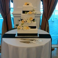 Black White And Champagne Wedding Cake this cake was for joanna... lovely couple getting married at the pelican bay resort in beautiful ft lauderdale beach... lovely setting and...