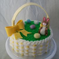 Easter Basket MMF bunny with malted milk eggs and gumpaste bow/handle.