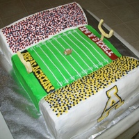 Football Stadium Groom's cake for an ASU grad and a Texas A&M student.