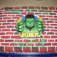 Incredible Hulk Decorated with buttercream. Hulk is a edible image.