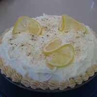 "Lemon Meringue Pie This is a yellow cake with lemon filling. The ""meringue"" is buttercream with cinnamon sprinkled on top. This was a cake for my..."