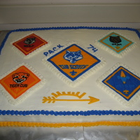 Cub Scout Blue & Gold I made this cake for my son's Cub Scout Blue & Gold awards banquet. It is half chocolate half vanilla cake with chocolate mousse....