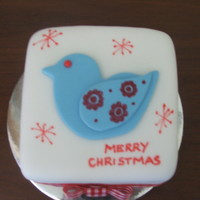 Christmas Mini Cake Fruit cake with fondant top.