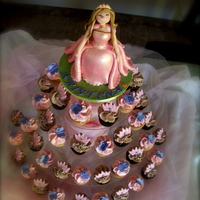 Princess Cupcakes Gumpaste Princess Topper. Cupcakes assorted vanilla and chocolate with butterfly and crown toppers.