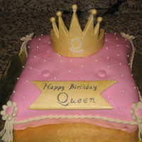 "Pillow Cake Fit For A Queen! Pillow cake for ""Queen of Cuisine's"" Birthday! Chocolate cake with peanut butter buttercream filling. Covered in fondant,..."