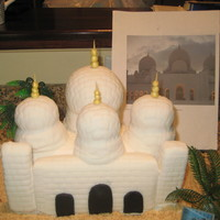 Abu Dhabi Mosque This is a HS graduation cake for someone going to college at NYU Abu Dhabi.Rice Krispies treats covered in fondant for the mosque....