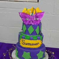 Mardi Gras Birthday Cake  Birthday cake for a friend's daughter. She wanted a Mardi Gras theme party. This is actually the second cake I had to make. The first...