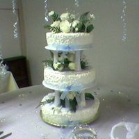 Wedding Cake almound cake with buttercream, use real roses for decoration, and blue ribbons