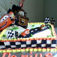 Birthday i made this cake for my nephew's first birthday. He likes the cars movie. Everything is buttercream.