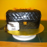 Chanel Purse chanel purse covered in fondant, gumpaste chain.TFL!