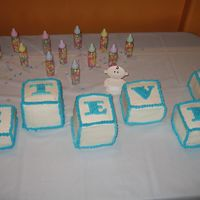 "Baby Blocks I made these blocks for my sister's baby shower. I made two 12x18 chocolate layers and stacked them. Then cut them into 4""x4&quot..."