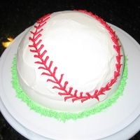 Baseball Ice Cream Cake I used the Betty Crocker Bake N' Fill kit. Used vanilla cake with vanilla ice cream inside and frosted it with whipping cream with a...