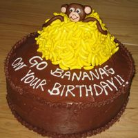 Monkey With Bananas Chocolate/Chocolate cake with fondant monkey instead mound of candy bananas.