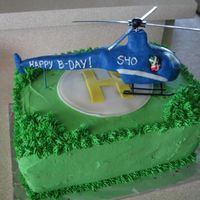 Helicopter Birthday Cake I made this cake for a client who was turning 40 and had just got his pilot license. I made the helicopter out of Wilton candy clay and put...