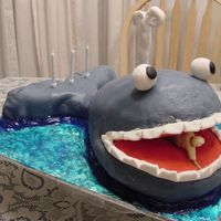 Jonah & The Whale Pound Cake formed with an egg pan, covered with Fondant & plastic figurine.